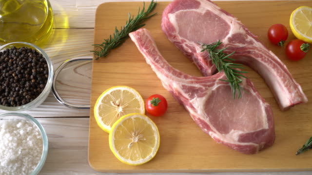 pork chop raw with ingredient video