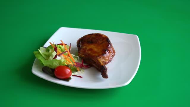 pork chop steak on green screen video