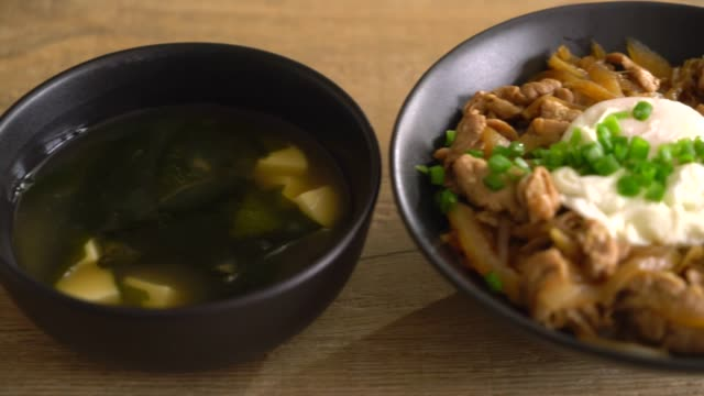 pork rice bowl with egg (donburi) - white background стоковые видео и кадры b-roll