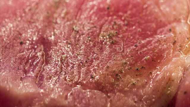Pork Steak Cooking Extreme Close-up Time Lapse video