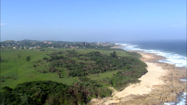 Port Edward  - Aerial View - KwaZulu-Natal,  Ugu District Municipality,  Hibiscus Coast,  South Africa This clip was filmed by Skyworks on HDCAM SR 4:4:4 using the Cineflex gimbal. KwaZulu-Natal,  Ugu District Municipality,  Hibiscus Coast South Africa natal stock videos & royalty-free footage