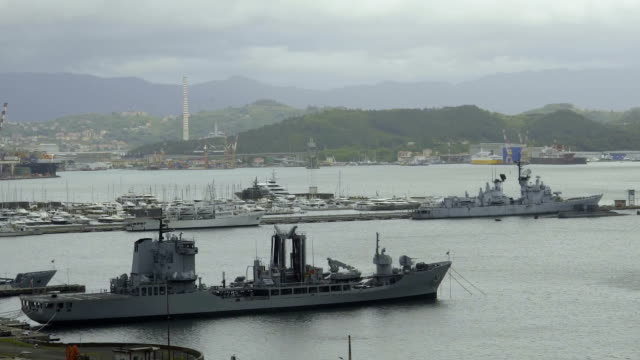 Port in Italian La Spezia city, replenishment oiler, naval auxiliary ship video