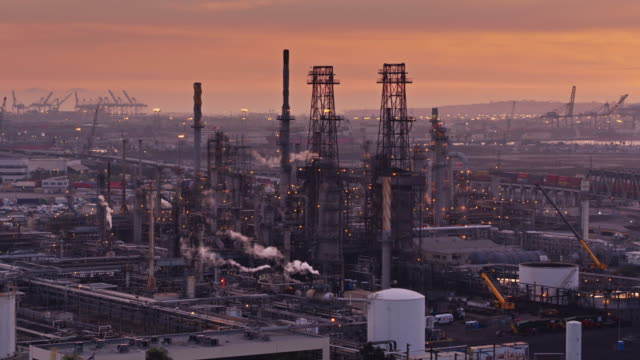 Port Industrial Complex at Sunset - Aerial Shot video