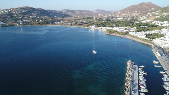 Port of Parikia on the island of Paros in the Cyclades in Greece seen from the sky