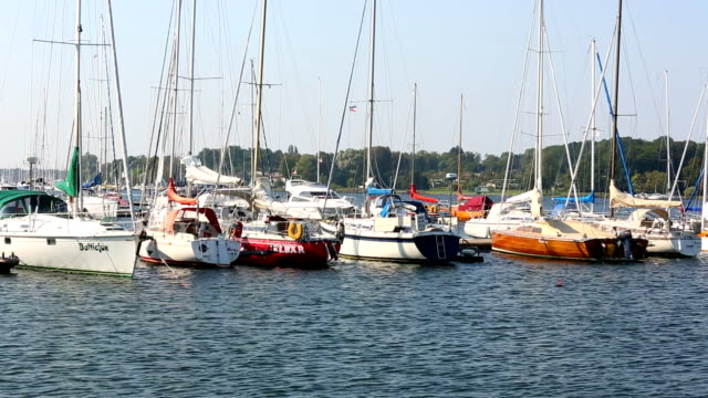 Port of Rostock with sailboats video