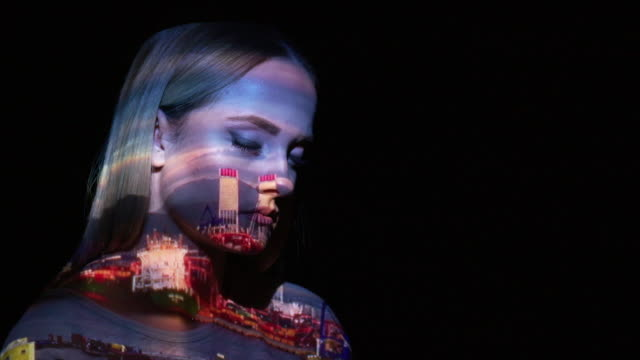 Port timelapse video on a woman's face Izmir port timelapse video on a woman's face. projection stock videos & royalty-free footage