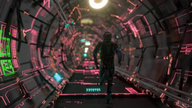 portal grid space with cosmonaut corridor