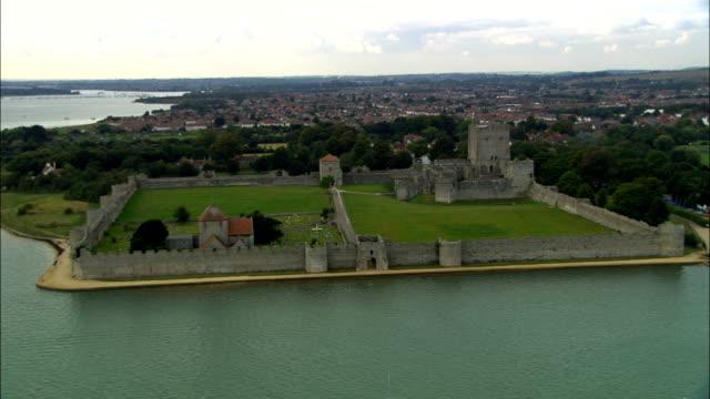Portchester Castle  - Aerial View - England, Hampshire, Fareham District, United Kingdom video