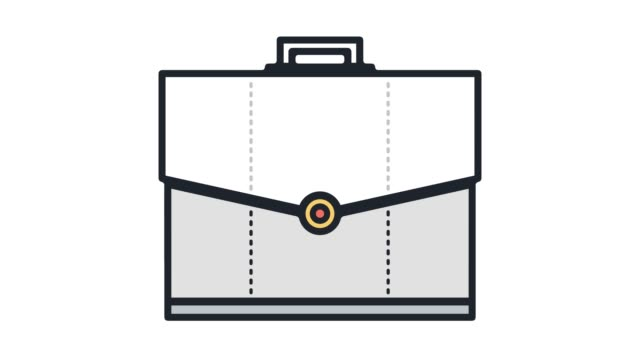 vidéos et rushes de animation en icône porte-documents ligne portefeuille avec alpha - book