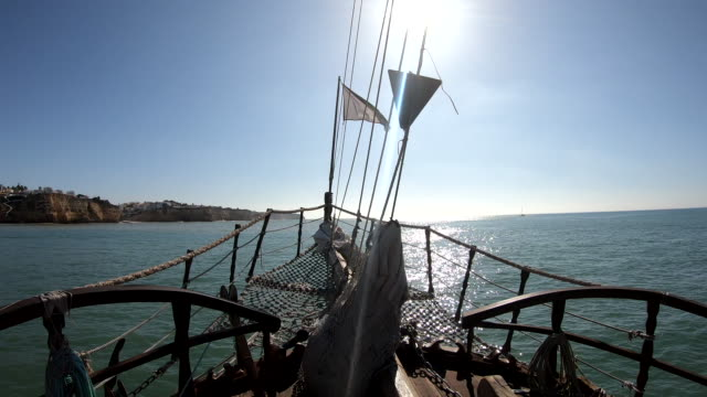Portimão Boat Algarve Portugal Point of view of a tourist traveling in a large boat in Portimão, Algarve, Portugal. mast sailing stock videos & royalty-free footage