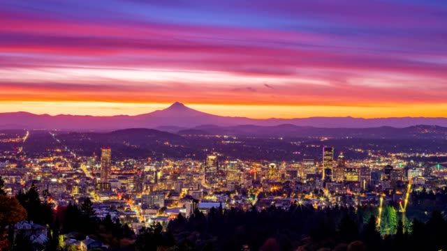 Portland autumn foliage and Mt hood with colorful sunrise in zooming time lapse video