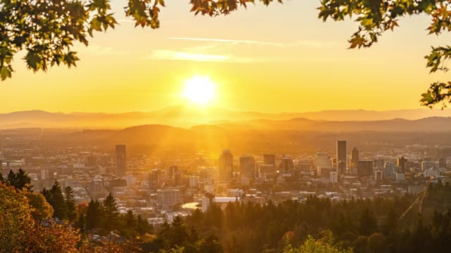 Portland autumn foliage and shining rising sun behind Mt hood video