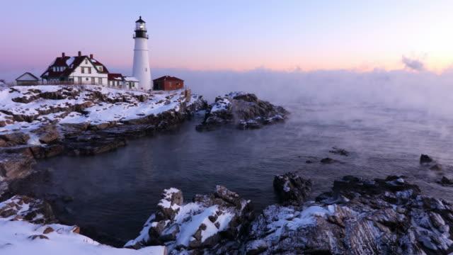 Portland Head Lighthouse in Arctic Sea Smoke