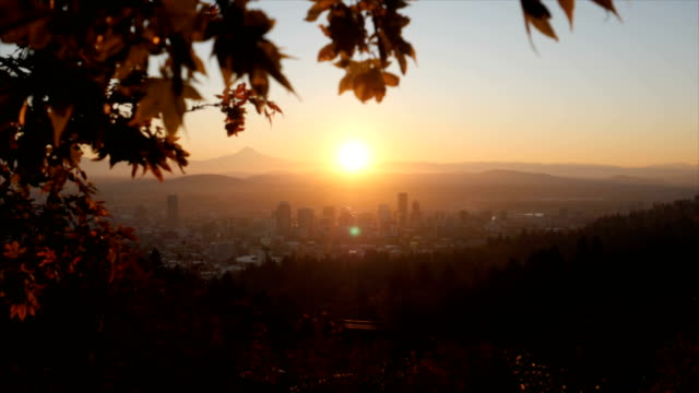 Portland, OR Oregon 4K real-time and time lapse footage series sunrise dawn stock videos & royalty-free footage