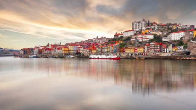 Porto city at sunset, Portugal - Time lapse