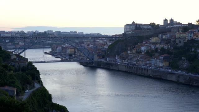 Porto city view from viewpoint in Vila Nova de Gaia with Nortada fog, Portugal