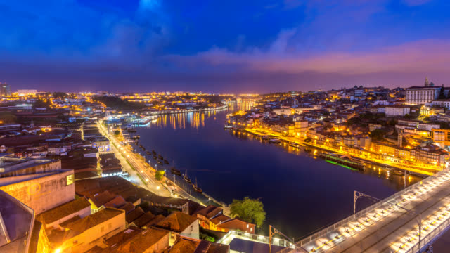 Porto Portugal time lapse 4K, city skyline night to day timelapse at Porto Ribeira and Douro River