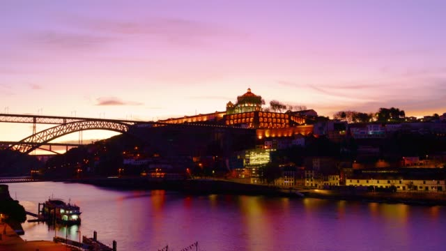 Porto, Portugal Timelapse - Twilight of Douro River - Dom Luis Bridge
