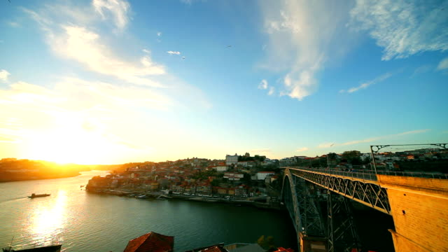 Porto seen from the top, bridge and cityscape video