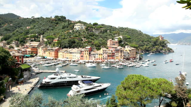 Portofino, Italian Riviera, with boats, yachts and sea in port