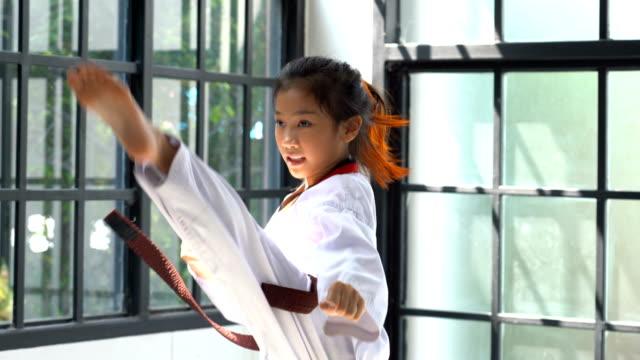 vídeos de stock, filmes e b-roll de retrato asiático menina taekwondo em estúdio - artes marciais