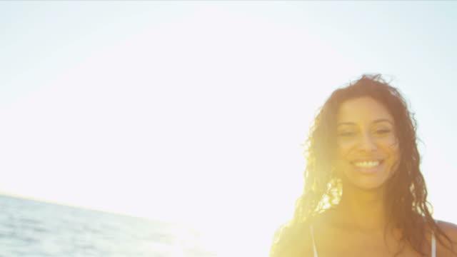 Portrait Beautiful Girl Loving Island Lifestyle Sunset video