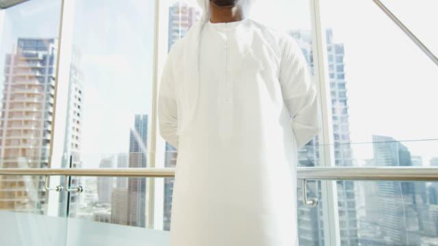 Portrait Emirati business executive wearing national dress Dubai video