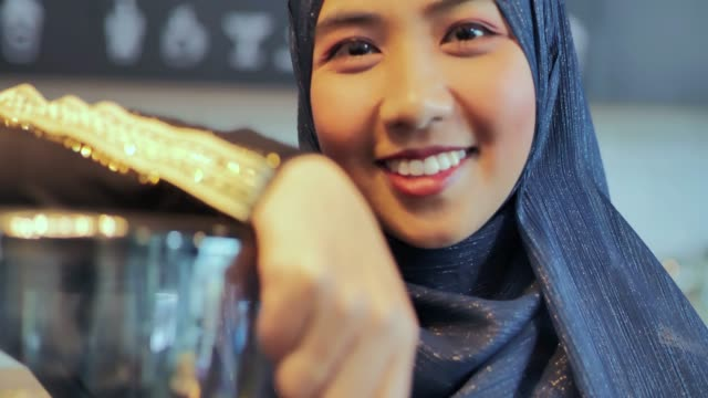 Portrait islamic woman small business owner. muslim entrepreneur concept.Arab Youth video