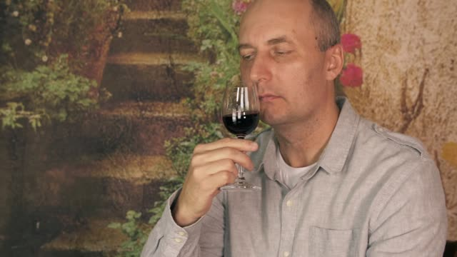 Portrait man winemaker looking and stirring red wine in glass before drink video