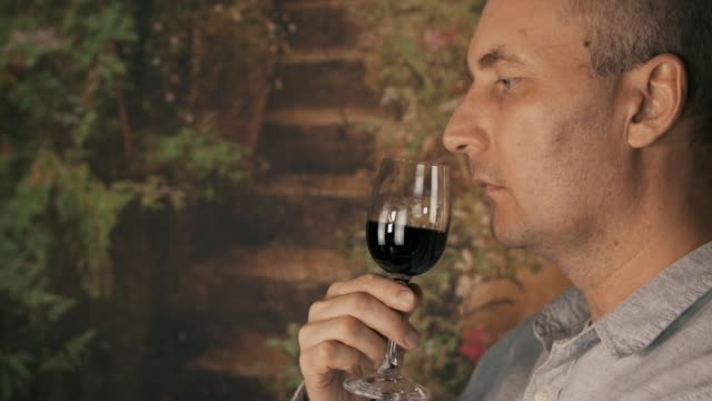 Portrait man winemaker looking on red wine in glass and drinking for degustation video