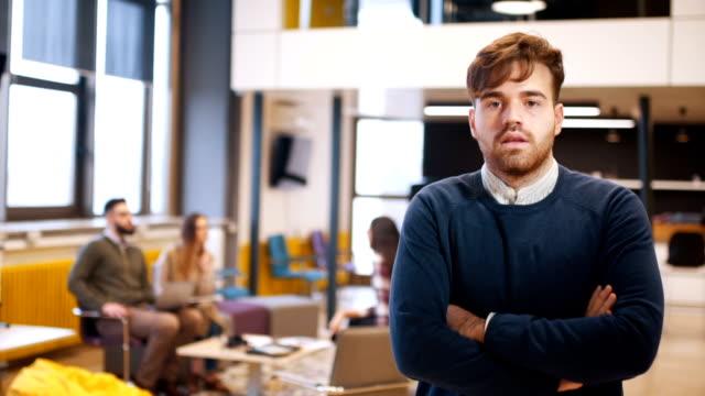 Portrait od beautiful young businessman video