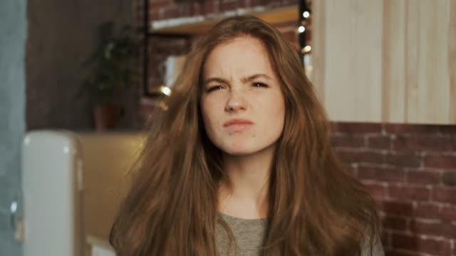 Portrait Of A Angry Young Woman. Close-up.