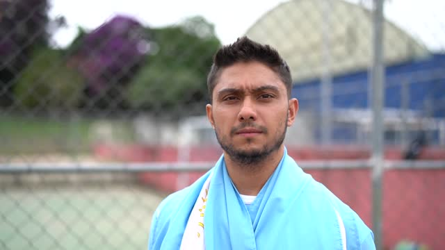 Portrait of a Argentinian soccer man outdoor video