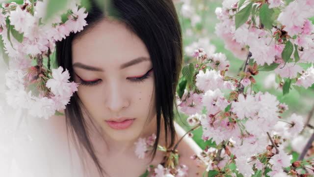 stockvideo's en b-roll-footage met portret van een mooi aziatisch meisje buiten tegen lente bloesem boom - oost azië