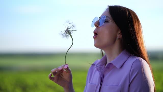 晴れた日に大きなタンポポに吹く美しい若い女性の肖像画 ビデオ