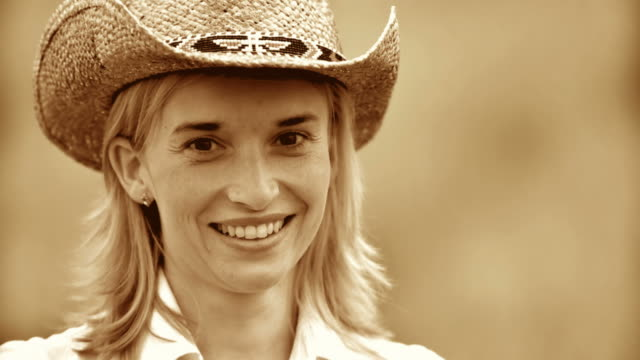 HD SLOW-MOTION: Portrait Of A Country Woman  sepia toned stock videos & royalty-free footage