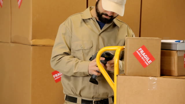 Portrait of a delivery man by cardboard boxes video