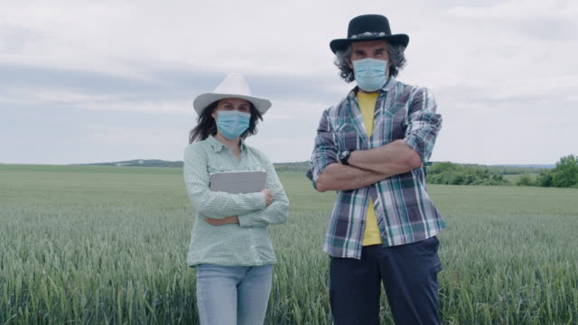 Video A portrait of a farmer's family smiling and looking at the camera, standing in the middle of a wheat field. Working during COVID-19 pandemic. Agricultural Occupation.  Family business.