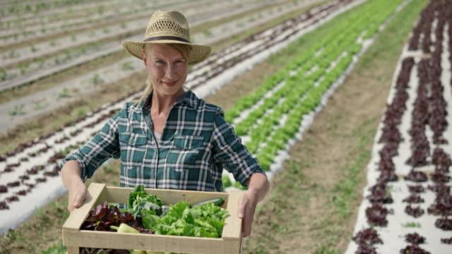 stockvideo's en b-roll-footage met tu portret van een vrouwelijke boer oppakken van een volledige plantaardige krat - mid volwassen vrouw