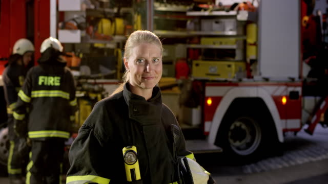 Portrait of a female firefighter video