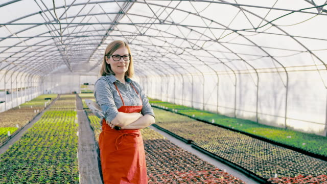DS Portrait of a female florist in the greenhouse video