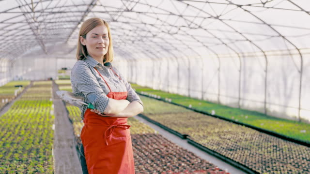 DS Portrait of a female gardener in the greenhouse Dolly shot of a mid adult female gardener posing with a small shovel in the greenhouse. Slovenia. mid adult stock videos & royalty-free footage