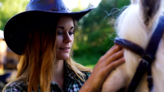 Portrait of a girl in a cowboy hat stroking a horse Portrait of a girl in a cowboy hat stroking a horse. Evening sunset light. Gypsy vanner, Gypsy Cob, Tinker. cowgirl stock videos & royalty-free footage