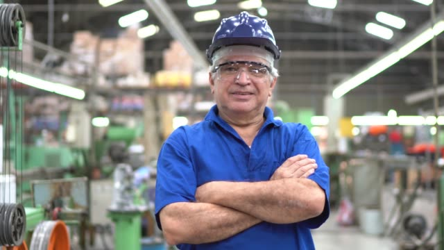 Portrait of a happy engineer at industry Portrait of a happy engineer at industry production line worker stock videos & royalty-free footage