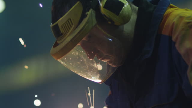 Portrait of a heavy industry worker in a mask that reflects sparks while he is working with metal on a angle grinder.