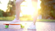 istock Portrait of a hipster young girl smiling with a skateboard at sunset. 1250138024