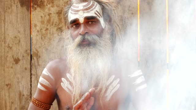Retrato de un santo Sadhu India - vídeo
