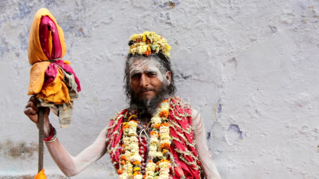 Portrait of a Holy Sadhu in Varanasi, India. video