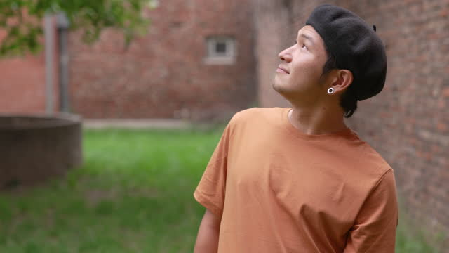 Portrait of a Japanese male outdoors video
