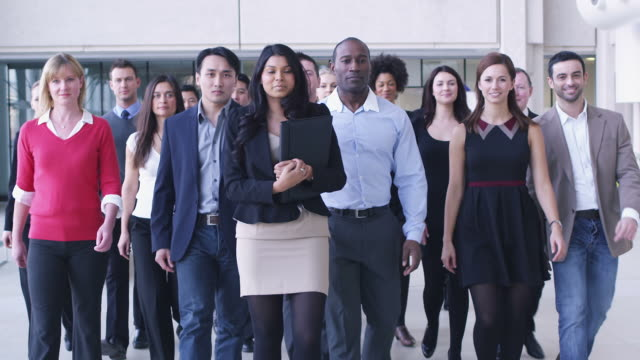 Portrait of a large business team Portrait of a large business team. Content young business team smiling into camera. group of people stock videos & royalty-free footage